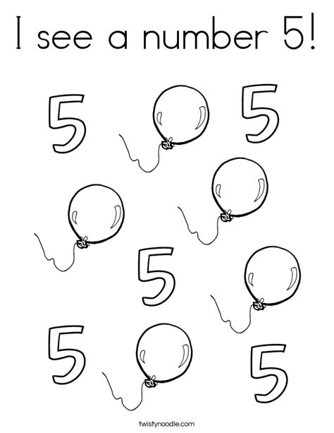 Number 5 Coloring Pages For Toddlers by I See A Number 5 Coloring Page Twisty Noodle