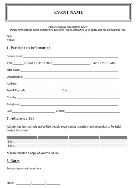 Event Registration Form Template Workshop Registration Form Template Word