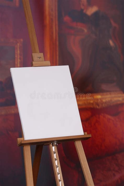 blank artist canvas  easel stock image image