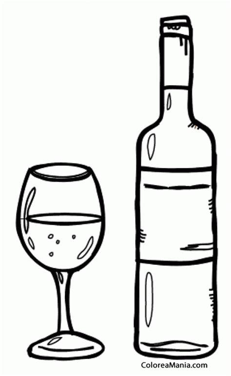 dibujos de bebidas para colorear colorear botella y copa de vino bebidas dibujo para