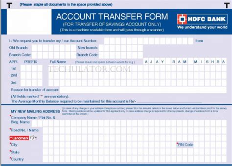 Credit Card Form Of Hdfc Bank How To Transfer Bank Accounts From One Branch To Another