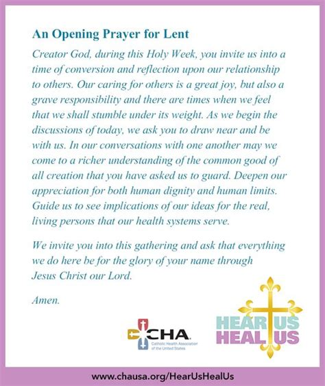 an opening prayer for lent hearushealus lent