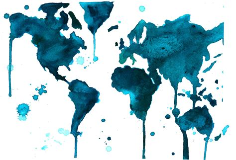 The World In Watercolor by Watercolor World Map Painting By Durrant A Teal World