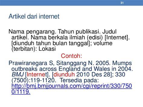 cara penulisan daftar pustaka dari alamat internet daftar pustaka standar ipb
