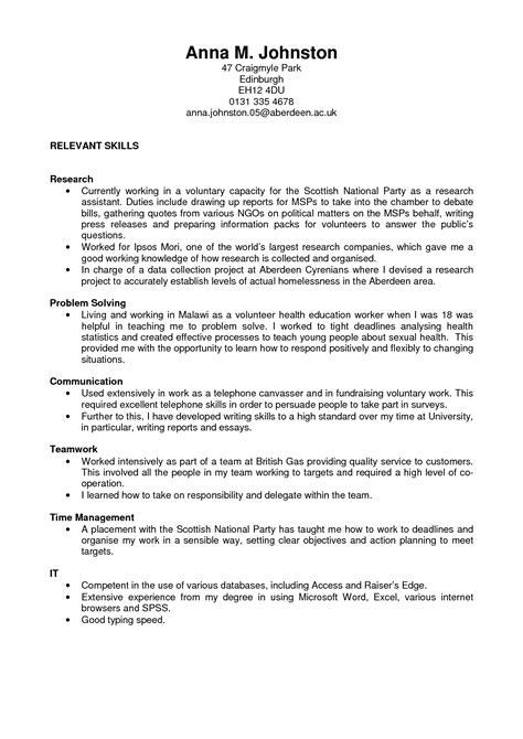 sociology resume exles exles of resumes