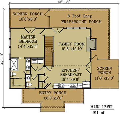 small cabin floor plan by max fulbright designs cottage house plan with wraparound porch by max fulbright