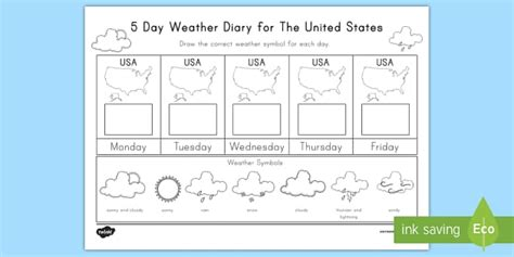 Weather Report Template Ks2 5 Day Weather Diary For The United States Activity Weather