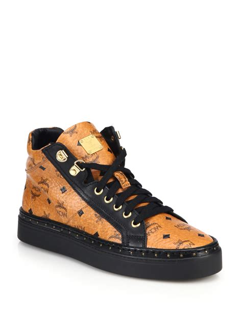 mcm mens sneakers mcm coated canvas mid top sneakers in brown for lyst