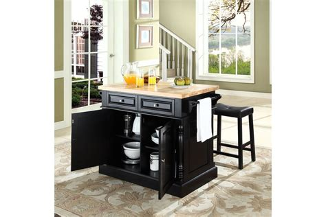 oxford butcher block top kitchen island in black finish by oxford butcher block top kitchen island in black with two
