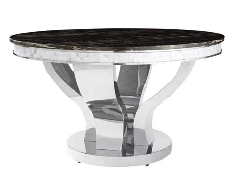 faux marble chrome dining table set shop for