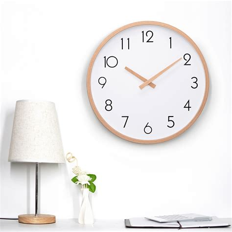 amazon com hippih silent wall clock wood non ticking digital quiet 12 inch glass wooden wall clocks silent quartz non ticking