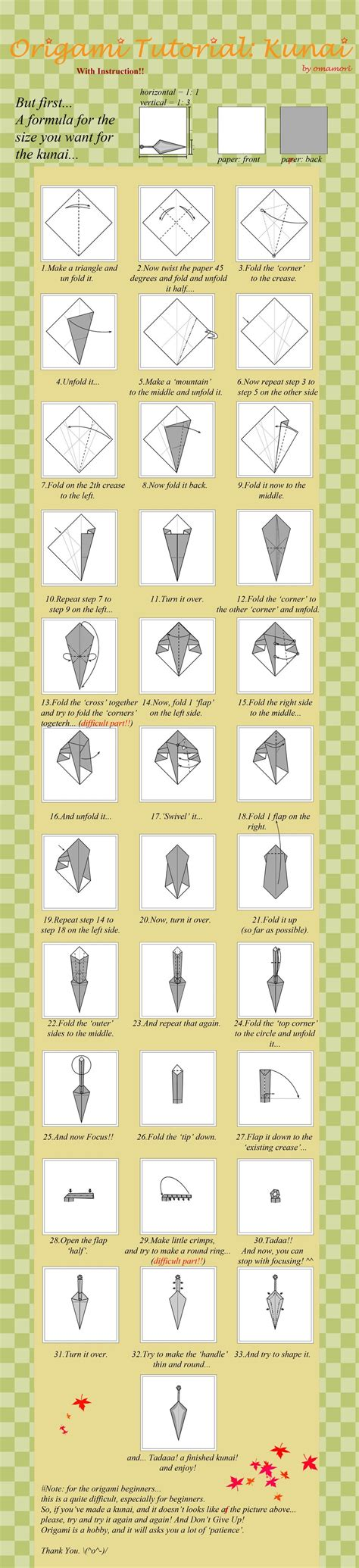 How To Make Origami Kunai - 2th origami tutorial kunai by mahou no omamori on