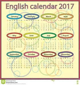 Calendario 2018 En Ingles Calendario Ingl 233 S 2017 Ilustraci 243 N Vector Imagen