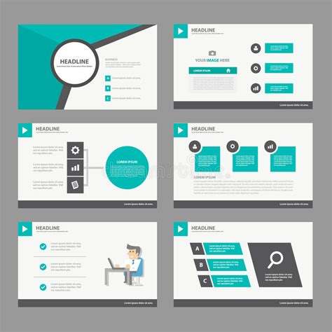 Black Green Presentation Template Annual Report Brochure Flyer Elements Icon Flat Design Set For Advertising Presentation Templates