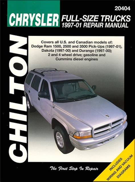 car repair manuals online pdf 1997 dodge ram van 2500 on board diagnostic system dodge ram dakota durango repair manual 1997 2001 chilton