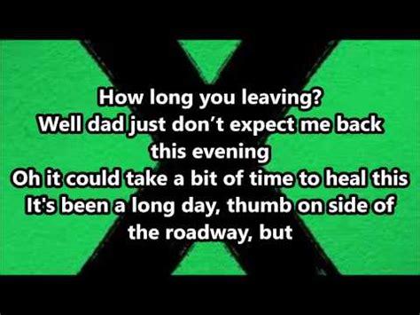 ed sheeran runaway lyrics youtube music lyrics