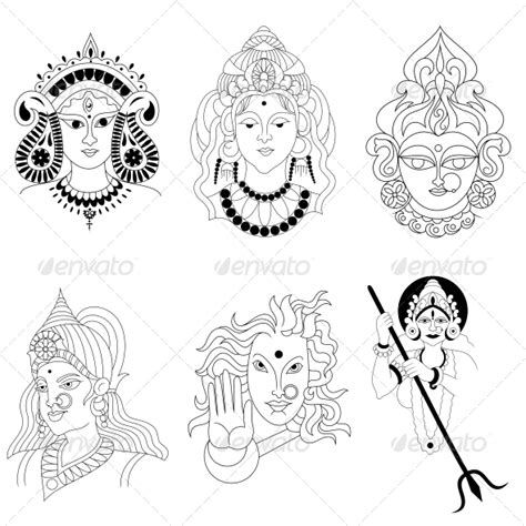 hindu goddess religious vector designs pack graphicriver