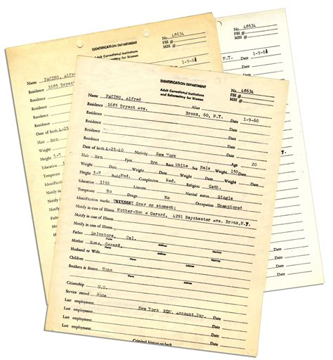 Possession Criminal Record Lot Detail Al Pacino 1961 Official Arrest Record And