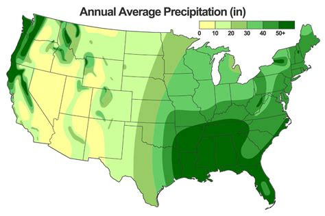 united states precipitation map map of the wettest places in the usa