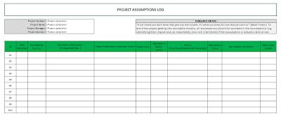 Raid Log Template Excel Download Free Project Management Templates Excel Assumptions Template