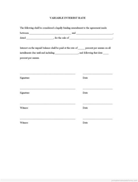 sle printable variable interest rate form printable