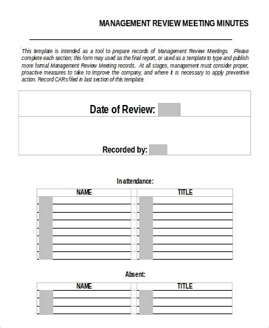 9 Sle Meeting Minutes Sle Templates Management Review Template