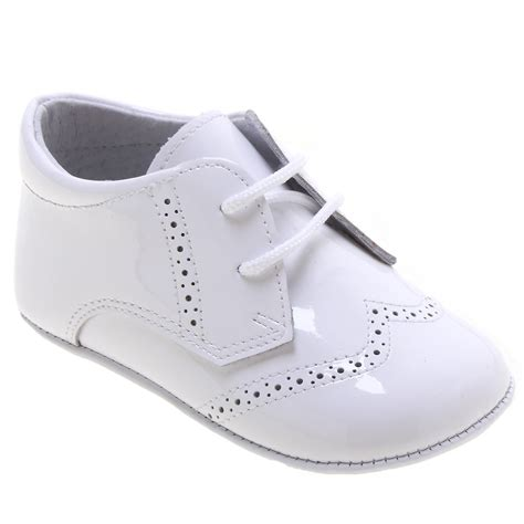 baby boys white pram shoes patent leather brogue styled