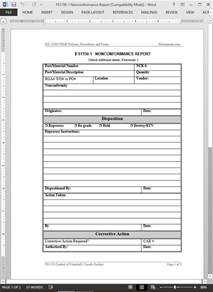 Non Conformance Report Template Word Fsms Nonconformance Report Template