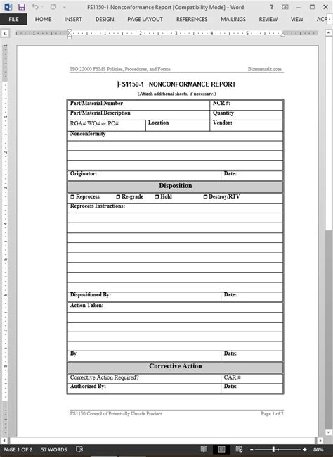 Non Conformance Report Template Iso 9001 Fsms Nonconformance Report Template