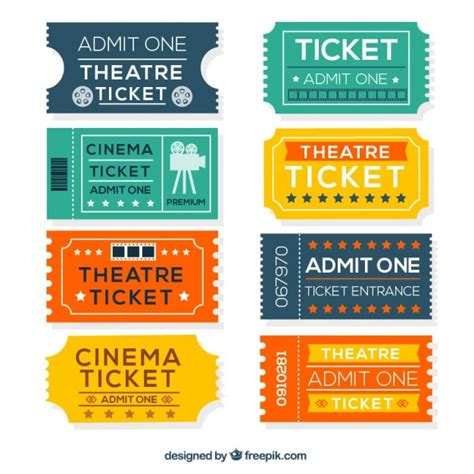 tickets design colorful cinema tickets in flat design vector free