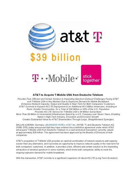 acquisition press release template at t and t mobile usa merger press release of march 20 2011