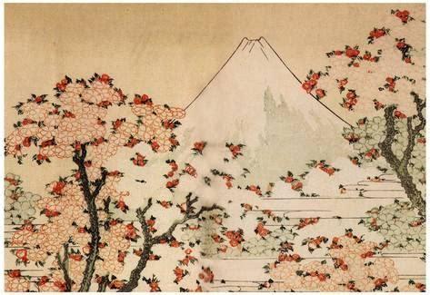 all poster fiori katsushika hokusai mount fuji cherry trees and