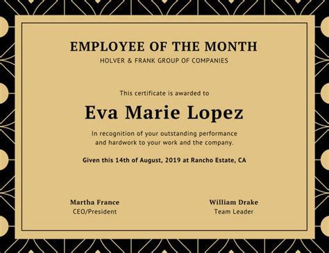 employee of the month template employee of the month certificate templates canva