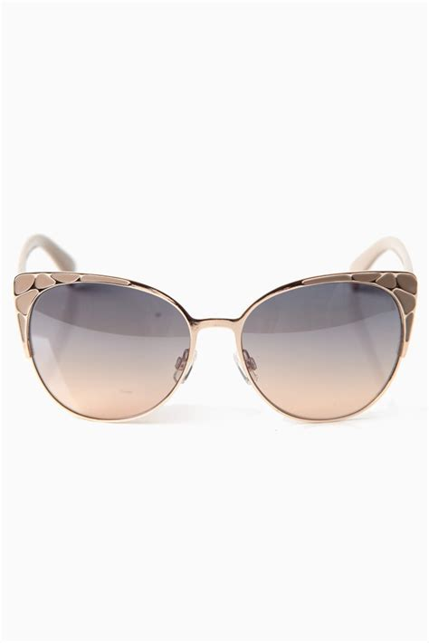 taupe printed accent cat eye sunglasses