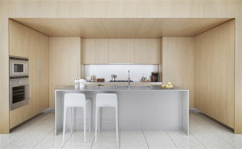 white symmetrical kitchen range with natural wooden 50 modern kitchen designs that use unconventional geometry