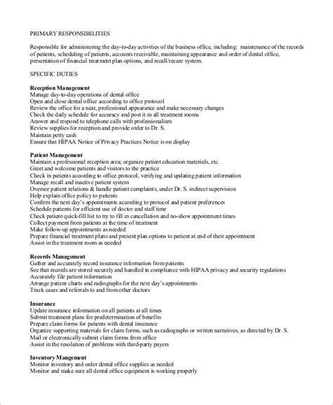 dental front desk job description front office support receptionist resume sle vinodomia