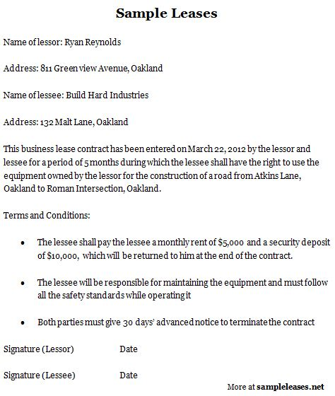 Equipment Lease Letter Of Intent Sle Leases