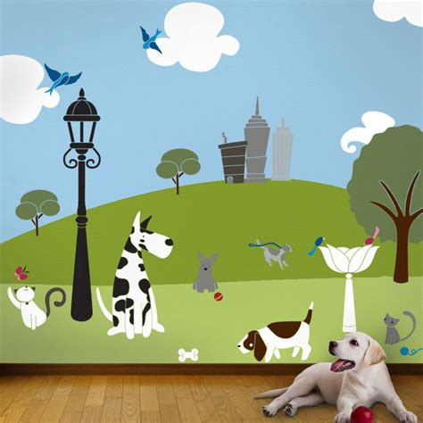 Wall Mural Templates Cat And Dog Wall Mural Stencil Kit For Kids Or Baby Room