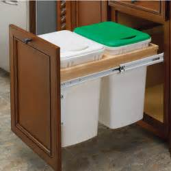 Kitchen Cabinet Waste Bins rev a shelf double pull out waste bins for framed cabinet 27 50