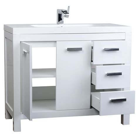 White Modern Bathroom Vanity 39 5 Quot Modern Bathroom Vanity Glossy White Finish Optional Mirror Rs L1000 Hgw Conceptbaths