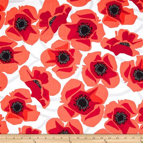 pattern for fabric poppy poppy modern large poppy red discount from fabric com