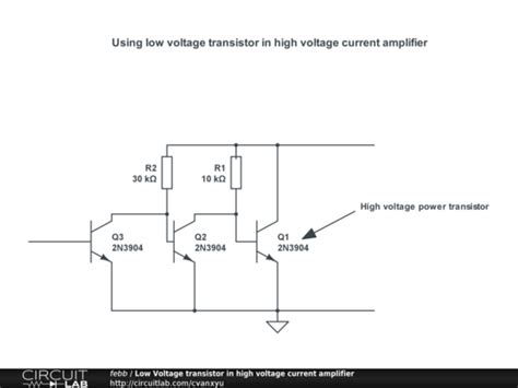 low voltage transistor in high voltage current lifier circuitlab