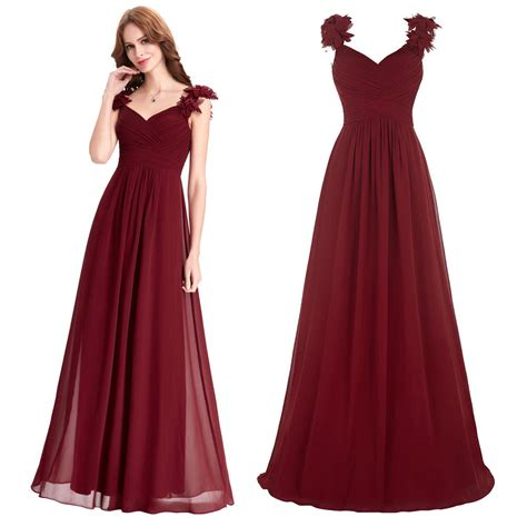 long chiffon formal evening ball gown prom dress bridesmaid party long chiffon wine red cocktail prom dresses formal evening