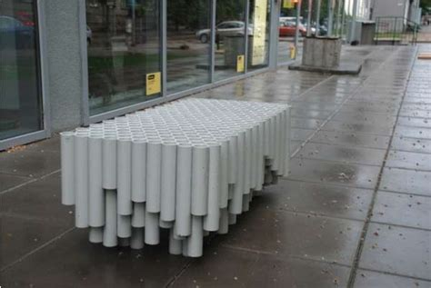 pvc pipe bench upcycled pipe seating rainwater pipe bench