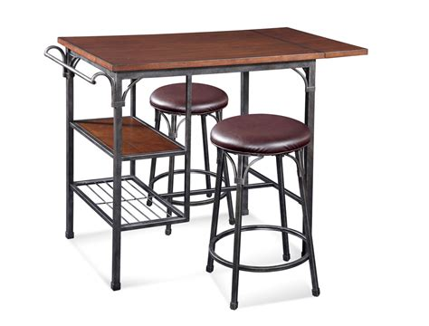 Kitchen Islands And Carts high rise bistro table set dark tobacco amp pewter finish