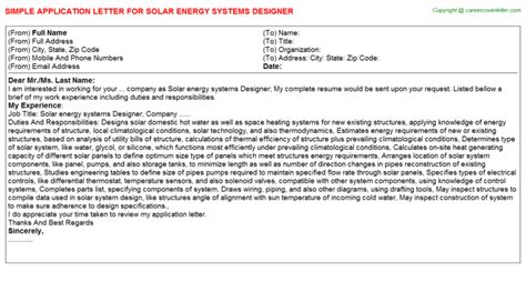 Motivation Letter Renewable Energy Designer Application Letters