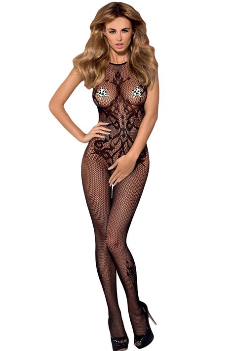 Bodystocking Opaque Low Neck Open Crotch seamless opaque halter neck bodystocking clothingfab