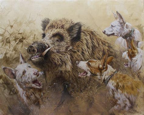 cuadros de caza la caza apuntes de cazador agarre de jabal 237 pintado al oleo
