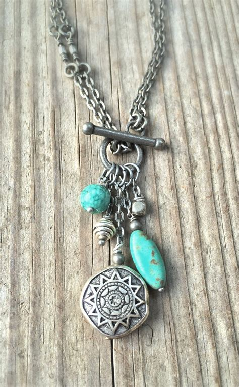 boho silver necklace turquoise necklace boho jewelry