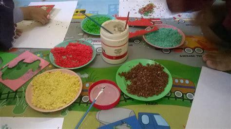 bahan untuk membuat lukisan kolase membuat rainbow rice untuk kolase rumah bunda